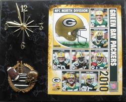 2010 Green Bay Packers Quartz Clock with Black Marble Finish - Thumbnail 1