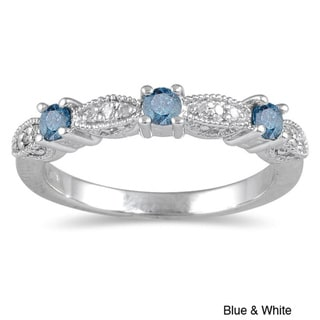 Marquee Jewels 10k White Gold 1/3ct TDW Blue or Black Diamond Ring