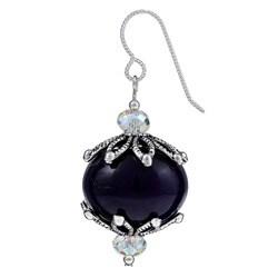 Pewter Purple Quartz and Crystal Earrings - Thumbnail 1