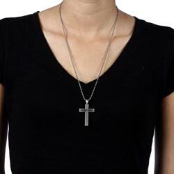 Bico Australia Silvertone Pewter Vegas Cross Necklace - Thumbnail 2