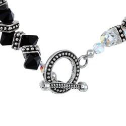 MSDjCASANOVA Zigzag AB Clear and Black Austrian Crystal Bracelet