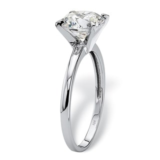 PalmBeach 2 Carat Round Cubic Zirconia Solitaire Ring in 10k White Gold Classic CZ