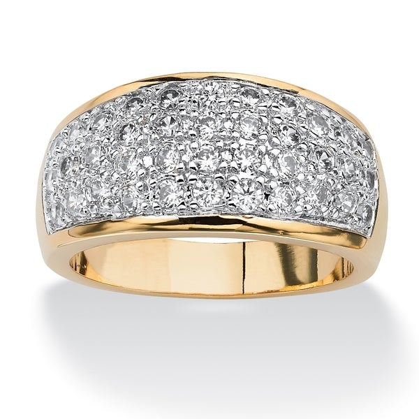 Yellow Gold-plated Cubic Zirconia Dome Pave Ring - White