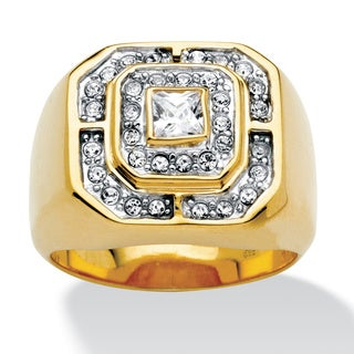 Men's .87 TCW Square-Cut and Round Cubic Zirconia 18k Gold over Sterling Silver Octagon Ri