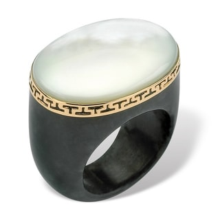 Oval-Shaped Mother-Of-Pearl Black Jade Greek Key Ring in 14k Gold Naturalist
