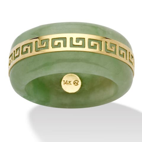 14K Yellow Gold Genuine Green Jade Greek Key Ring