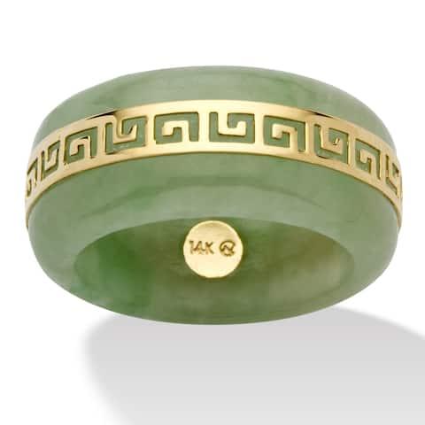 14K Yellow Gold Genuine Green Jade Greek Key Ring