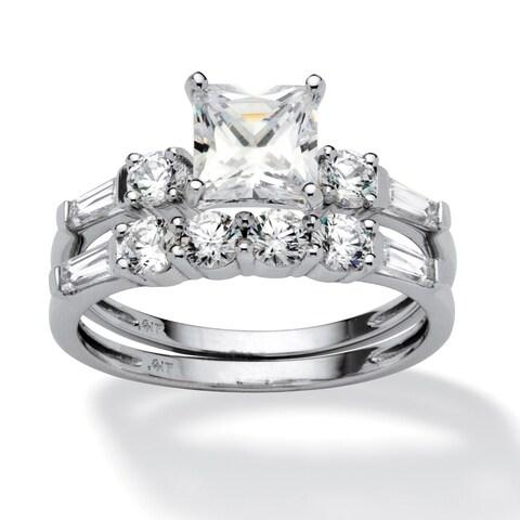 10K White Gold Cubic Zirconia Bridal Ring Set