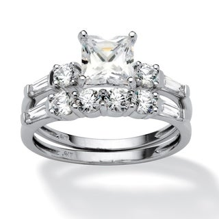 PalmBeach 2 Piece 2.52 TCW Princess-Cut Cubic Zirconia Bridal Ring Set in 10k White Gold Classic CZ