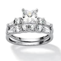 2 Piece 2.52 TCW Princess-Cut Cubic Zirconia Bridal Ring Set in 10k White Gold Classic CZ