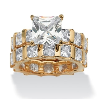 PalmBeach 12.67 TCW Princess-Cut Cubic Zirconia 18k Gold over Sterling Silver Eternity Wedding Band Set Glam CZ