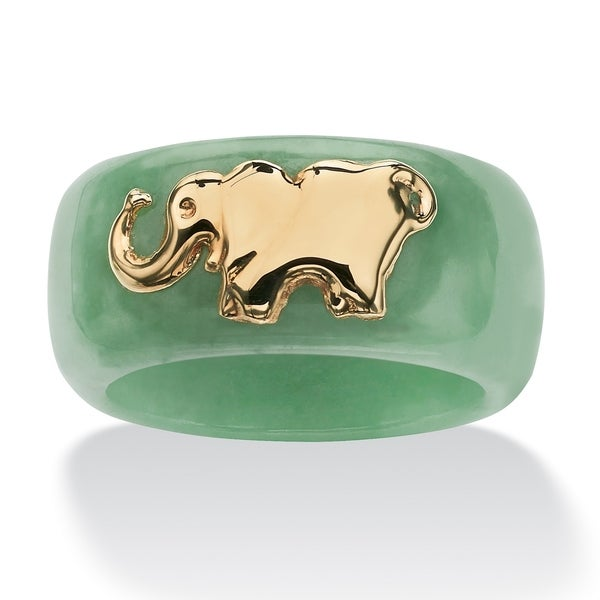10K Yellow Gold Genuine Green Jade Elephant Ring. Opens flyout.