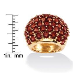 Angelina D'Andrea 18k Gold over Sterling Silver Garnet Dome Ring