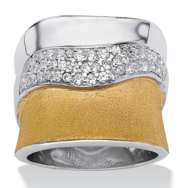 PalmBeach 5/8 TCW Cubic Zirconia Pave 18k Gold over Sterling Silver Polished and Textured Ring Glam CZ