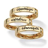 Round Crystal 14k Yellow Gold-Plated Set of Three Inspirational Stack Rings Tailored