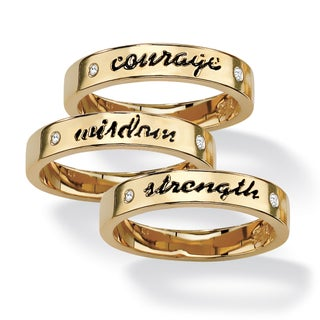 Round Crystal 14k Yellow Gold-Plated Set of Three Inspirational Stack Rings Tailored (3 options available)