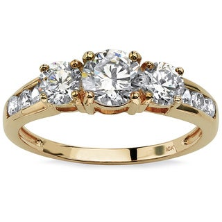 1.88 TCW Round Cubic Zirconia Engagement Anniversary Ring in 10k Gold Classic CZ
