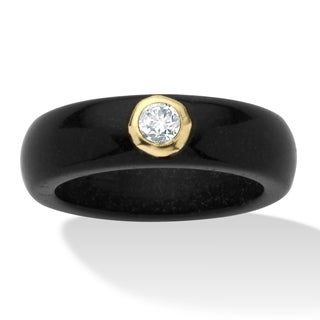 10K Yellow Gold Genuine Topaz and Black Genuine Jade Bezel Set Ring