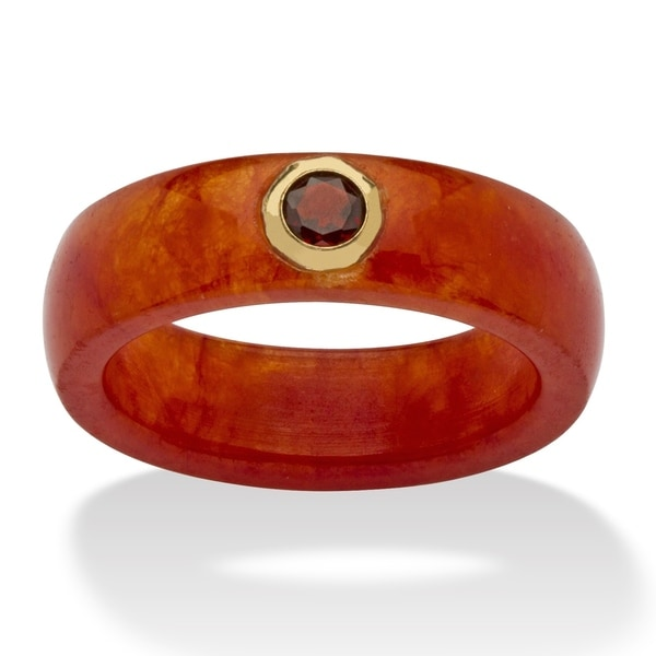 10K Yellow Gold Genuine Garnet and Red Genuine Jade Bezel Set Ring