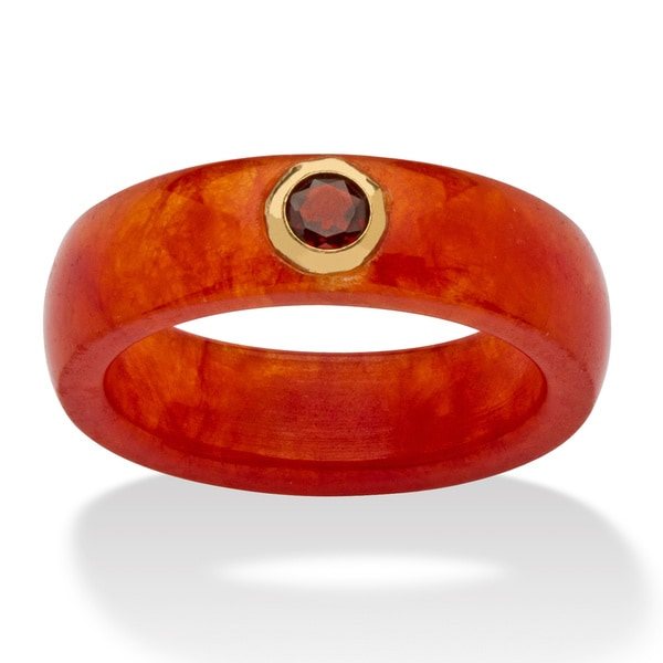 1/3 TCW Round Genuine Garnet and Genuine Red Jade 10k Yellow Gold Band Ring Naturalist