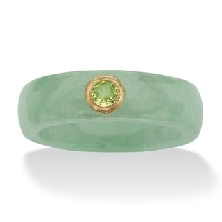 10K Yellow Gold Genuine Peridot and Green Genuine Jade Bezel Set Ring