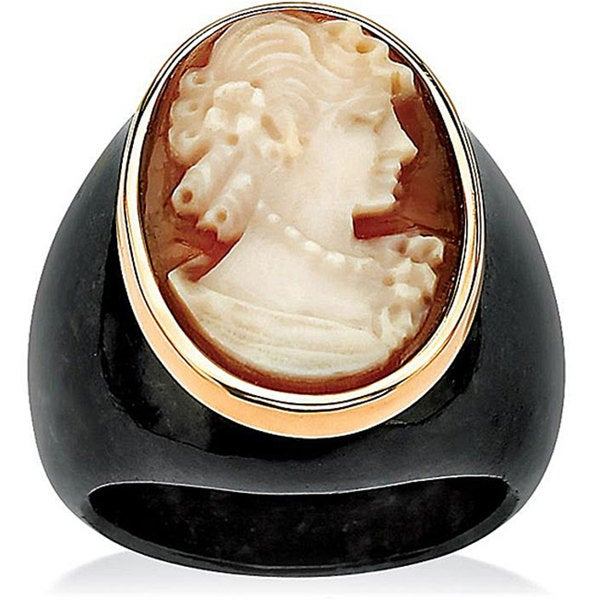 Oval-Shaped Genuine Shell Cameo Genuine Onyx 10k Yellow Gold Classic Cameo Ring Naturalist
