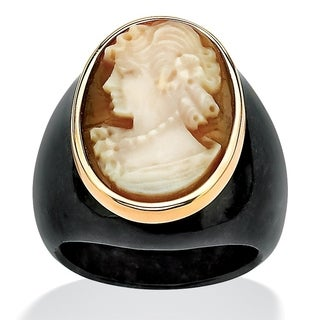 10K Yellow Gold Genuine Multi Color Shell And Black Natural Onyx Ring