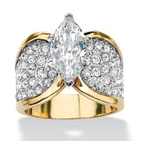 4.59 TCW Marquise-Cut Cubic Zirconia Engagement Anniversary Ring in 14k Gold-Plated Glam C