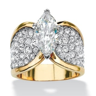 Yellow Gold-plated Cubic Zirconia and Round Crystals Ring - White