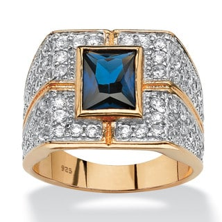 PalmBeach Men's 4.06 TCW Emerald-Cut Midnight Blue Sapphire Ring in 18k Gold over Sterling Silver
