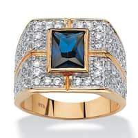 Men's 4.06 TCW Emerald-Cut Midnight Blue Sapphire Ring in 18k Gold over Sterling Silver