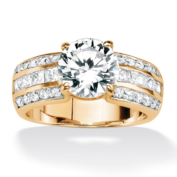 4.02 TCW Round Cubic Zirconia 18k Gold over Sterling Silver Engagement Anniversary Ring Cl
