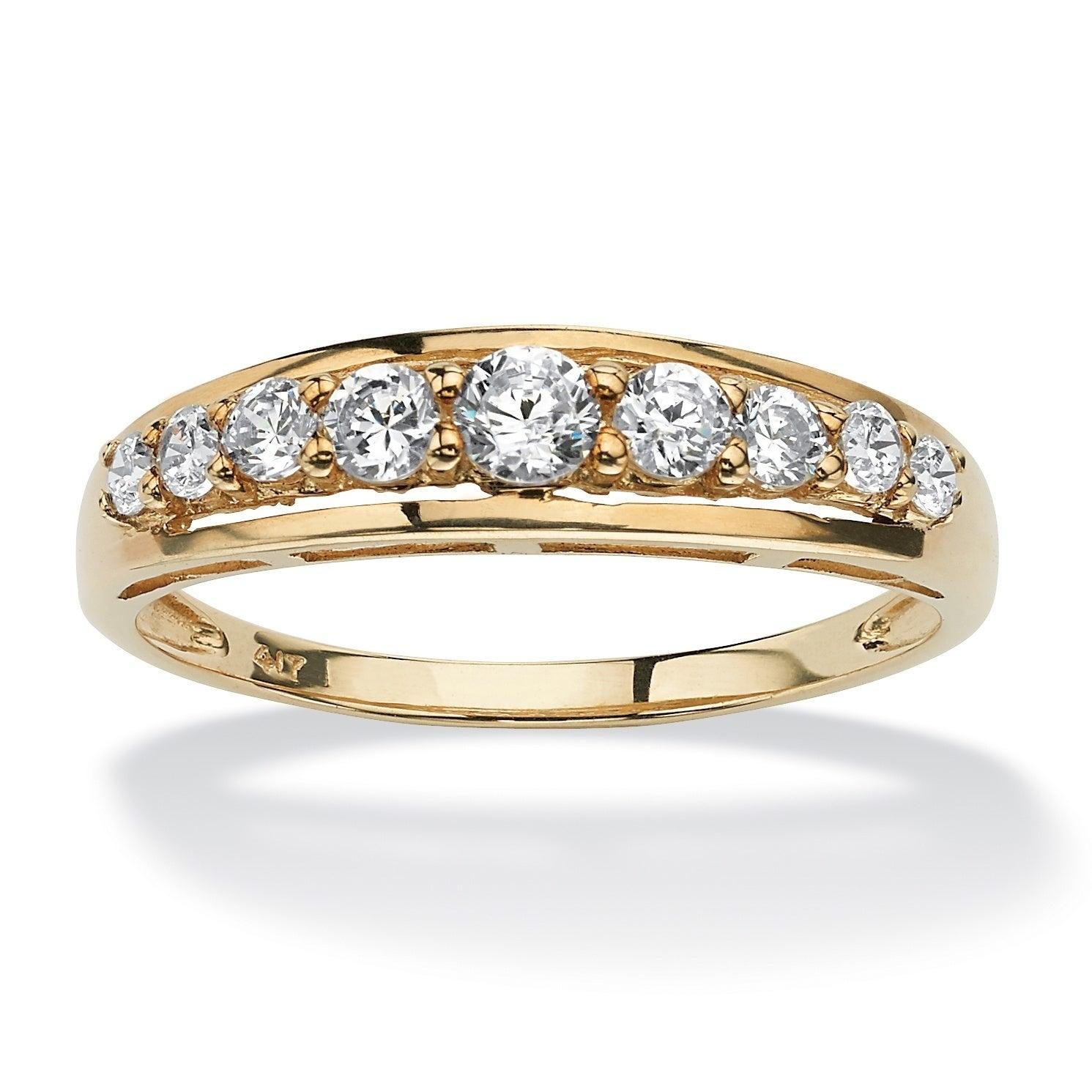 14k White Gold Cubic Zirconia Wedding Band Ring For Men