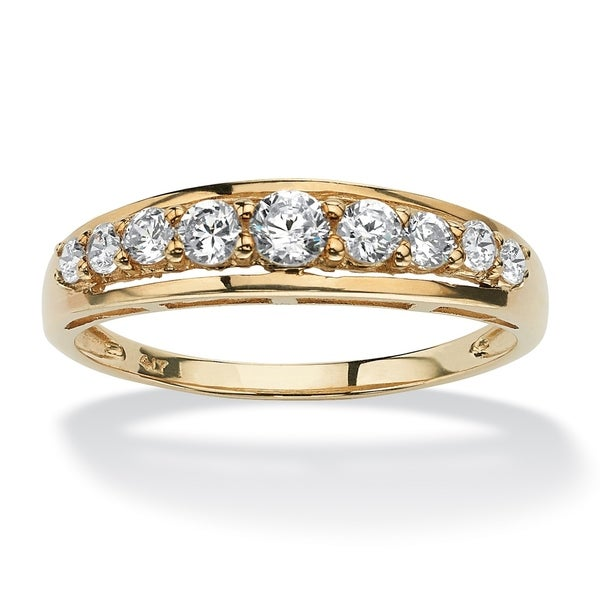 10K Yellow Gold Cubic Zirconia Single Row Wedding Band Ring - White