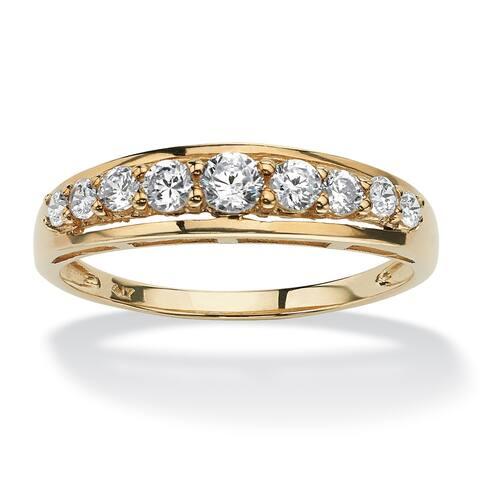 10K Yellow Gold Cubic Zirconia Single Row Wedding Band Ring - White