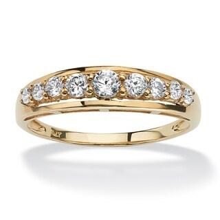 10K Yellow Gold Cubic Zirconia Single Row Wedding Band Ring - White (2 options available)