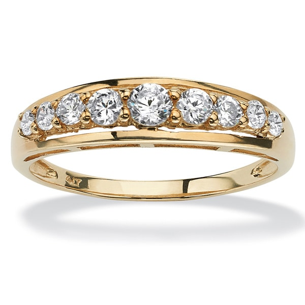 .93 TCW Round Cubic Zirconia Ring in 10k Gold Classic CZ