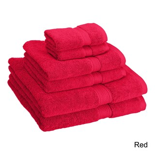 Superior Luxurious Absorbent 900 GSM Combed Cotton 6-piece Towel Set (Option: Red)