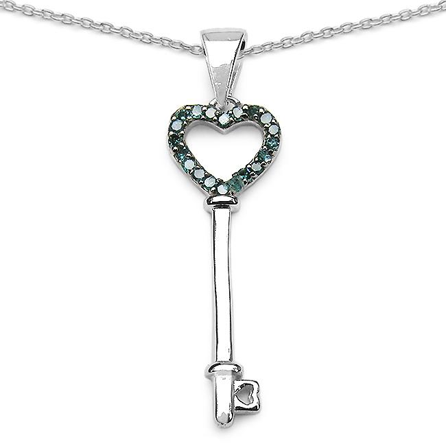 Malaika Sterling Silver 1/10ct TDW Blue Diamond Heart Key Necklace