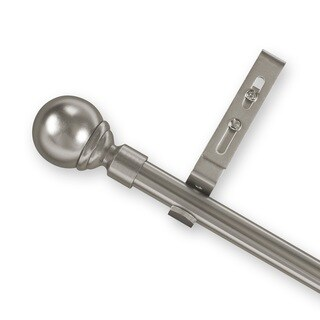 Pinnacle Pewter Ball Finial Adjustable Curtain Rod Set
