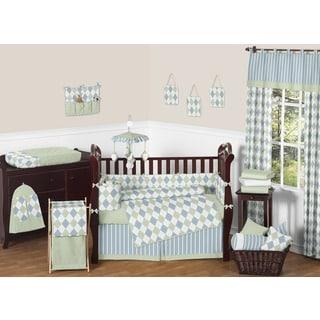 Sweet Jojo Designs Blue and Green Argyle 9-piece Crib Bedding Set