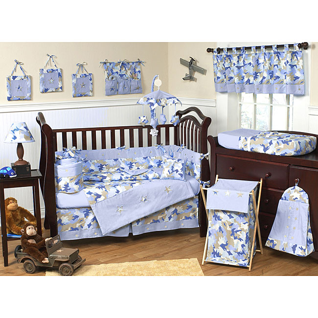 Sweet Jojo Designs Blue Camo 9 Piece Crib Bedding Set