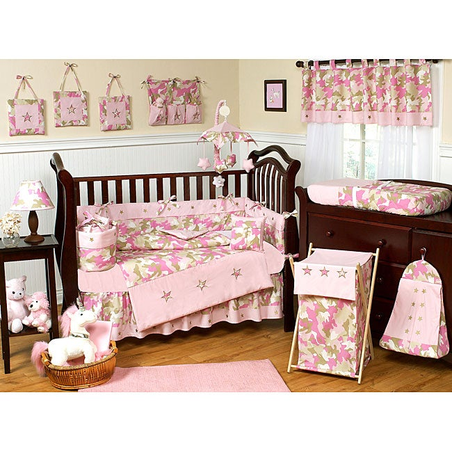 sweet jojo designs pink camo 9 piece crib bedding set free shipping