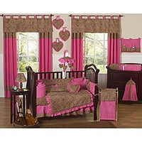 pink cheetah 9 piece crib bedding set - Baby Girl Bedding Sets