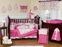 Sweet Jojo Designs Pink and Green Circles 9-piece Crib Bedding Set - Thumbnail 1