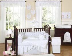 Sweet Jojo Designs White Eyelet 9-piece Crib Bedding Set - Thumbnail 1