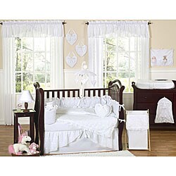 Sweet Jojo Designs White Eyelet 9-piece Crib Bedding Set