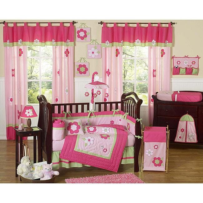 Sweet Jojo Designs Flowers 9-piece Crib Bedding Set