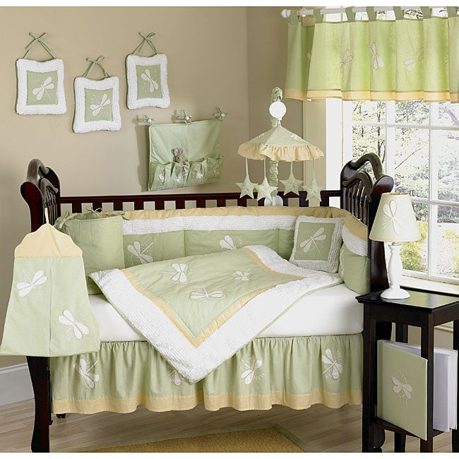 Green Dragonfly 9-piece Crib Bedding Set