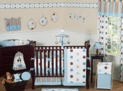 Sweet Jojo Designs Blue Polka Dot 9-piece Crib Bedding Set - Thumbnail 2